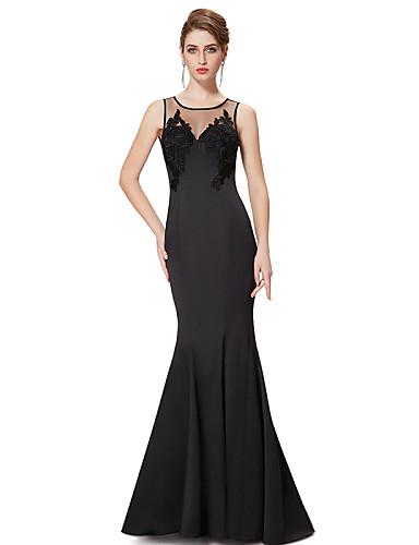 27b93ef6a سهرة رسمية فستان - أسود حورية البحر مجورة طول يلمس الأرض ساتين / حرير  ستريتش. الصورة المورد