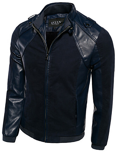 Men's Office / Career Classic & Timeless Spring Fall Regular Jacket, Solid Color Patchwork Shirt Collar Cowhide N/A Artistic Style