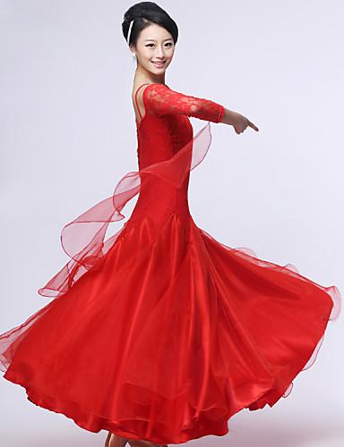 Ballroom Dance Dresses&Skirts Women's Performance Crepe / Lace / Milk Fiber Lace / Ruched Long Sleeve Dress / Modern Dance