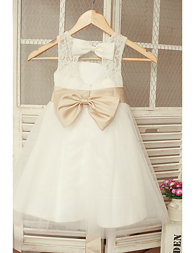 A-Line Ankle Length Flower Girl Dress - Lace Tulle Sleeveless Jewel Neck with Bow(s) Sash / Ribbon Pleats by LAN TING BRIDE®