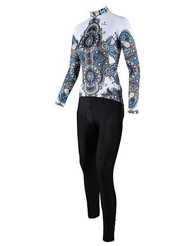 cheap Cycling Clothing-ILPALADINO Women's Long Sleeve Cycling Jersey with Tights - White / Black Plus Size Bike Clothing Suit Windproof Breathable Quick Dry Back Pocket Sports Patterned Mountain Bike MTB Road Bike Cycling