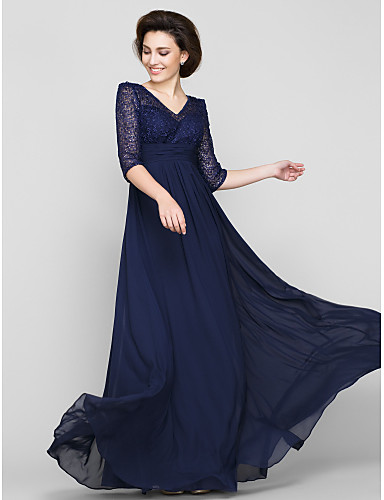 A-Line V Neck Ankle Length Chiffon / Beaded Lace Mother of the Bride Dress with Lace / Ruched by LAN TING BRIDE®