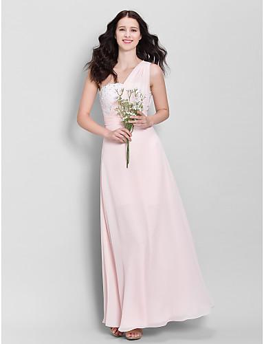 LAN TING BRIDE 발목 길이 원 숄더 신부 들러리 드레스 - 우아한 민소매 쉬폰