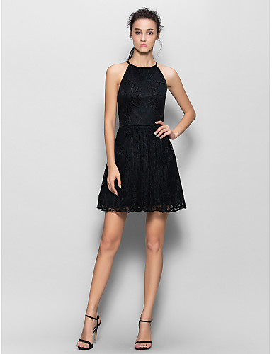 A-Line Jewel Neck Short / Mini Lace Bridesmaid Dress with Lace by LAN TING BRIDE®