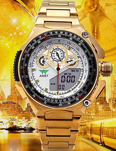 Herrn Sportuhr / Militäruhr / Digitaluhr Japanisch Alarm / Kalender / Wasserdicht Edelstahl / Legierung Band Luxus / Freizeit / Modisch Gold / Duale Zeitzonen
