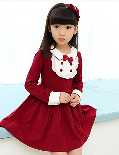 Girl's Cotton Blend  Cotton Blend Winter / Fall  Preppy Look  Revers  lacework Accessories Dress