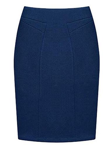 Mulheres Saias Altura dos Joelhos Bodycon / Plus Sizes Lã / Outros Micro-Elástica Mulheres