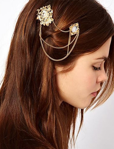 Women Hollow Carved Pearl Crystal Hairpin Hair Accessories