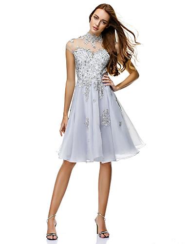A-Linie Prinzessin Illusionsausschnitt Knie-Länge Organza Cocktailparty / Firmenfeier Kleid mit Perlenstickerei Applikationen durch TS