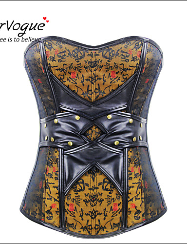 Burvogue Women's Vintage Jacquard Bustier Leather Corset Tops with Zipper