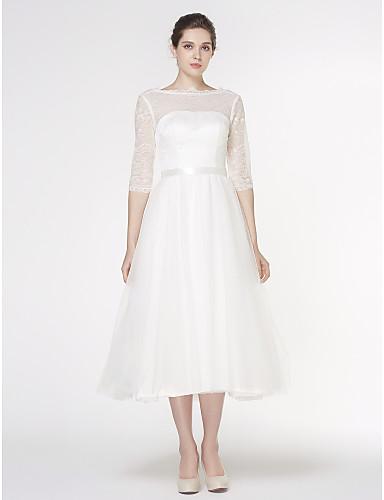 A-Linie Bateau Hals Tee-Länge Spitze Tüll Benutzerdefinierte Brautkleider mit Spitze durch LAN TING BRIDE®