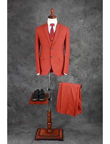 Suits Tailored Fit Notch Single Breasted Two-buttons Cotton Blend Solid 3 Pieces Orange Straight Flapped Double (Two) Double (Two)Buttons