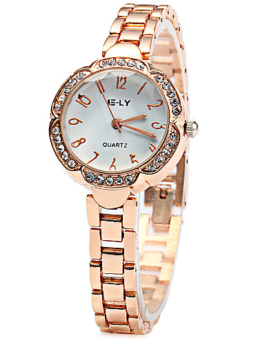 IE-LY Flower Dial Diamond Quartz Chain Watch for Women Cool Watches Unique Watches