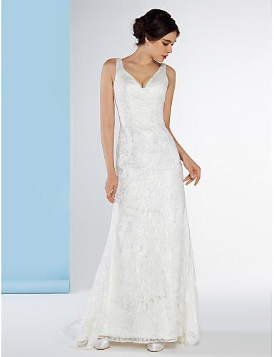 Sellő / trombita v-nyakú sweep / kefe vonat csipke esküvői ruha csipkével lan ting bride®