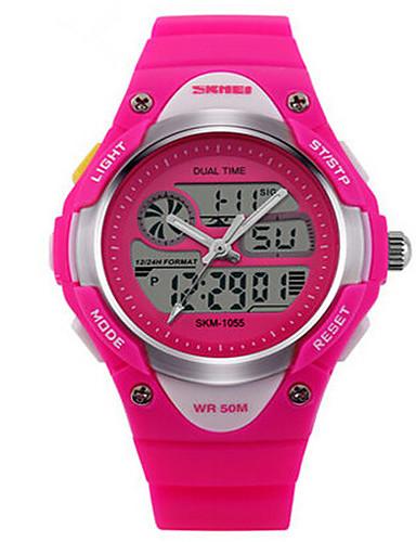 Çocuk Spor Saat Moda Saat Dijital Alarm Takvim Kronograf Su Resisdansı Spor Saat Termometre LED Çift Zaman Bölmeli PU Bant Siyah Mavi Gül