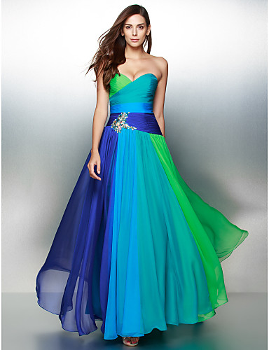 A-Line Sweetheart Floor Length Chiffon Prom / Formal Evening Dress with Crystal Detailing Criss Cross by TS Couture®