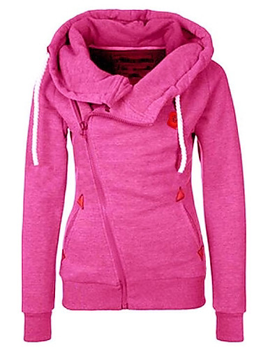 Mulheres Básico Jacket Hoodie Sólido / Panda / Outono