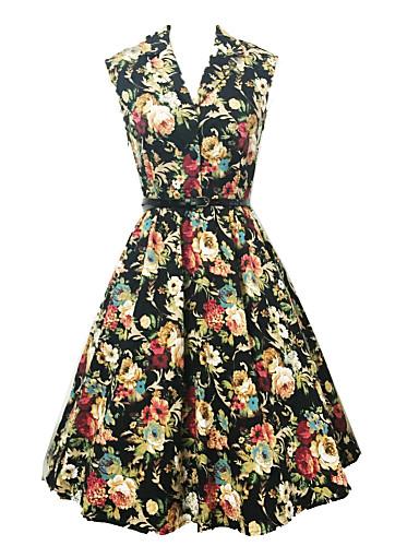 Kadın's Dışarı Çıkma Vintage A Şekilli Diz-boyu Elbise Çiçekli Desen Kolsuz V Yaka Yüksek Bel Pamuklu