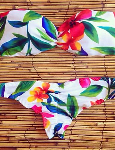 Női Nyomtatott Pánt Bikini Fürdőruha Virágos Fehér Zöld