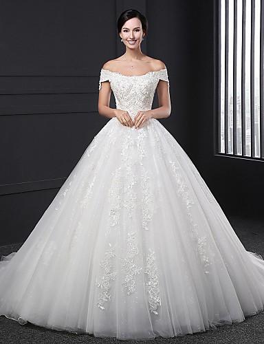Báli ruha Menyasszonyi ruha Kápolna uszály Ejtett vállú Csipke val vel Gyöngydíszítés