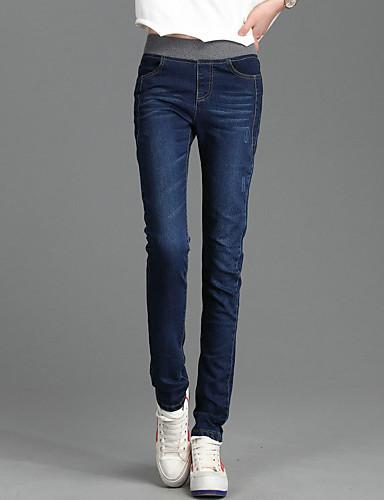 Feminino Cintura Alta Elástico Jeans Calças,Reto Sólido,Patchwork