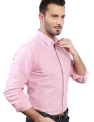 JamesEarl Masculino Colarinho de Camisa Manga Comprida Shirt & Blusa Rosa - M81XF001201