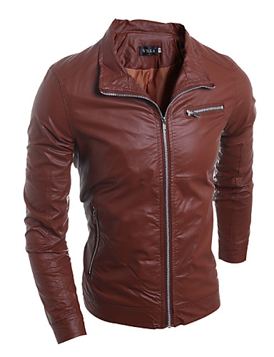 Men's Punk & Gothic Leather Jacket-Solid Colored Stand