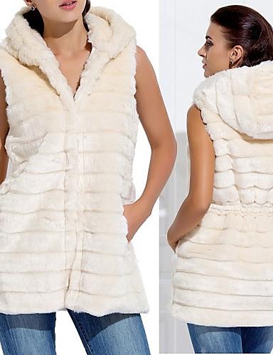 online store ab5be aa9fa gilet di pelliccia con cappuccio in pelliccia del faux ...
