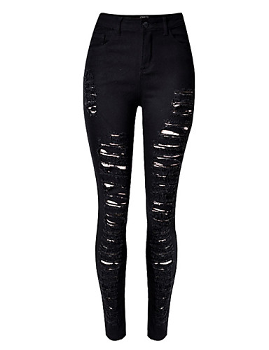 Women's Petite High Rise Micro-elastic Skinny Jeans Pants, Sexy Solid Cotton Fall