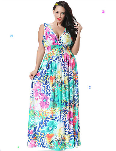 Plus Size Beach Skater Dress - Floral, Backless Ruffle Maxi Deep V