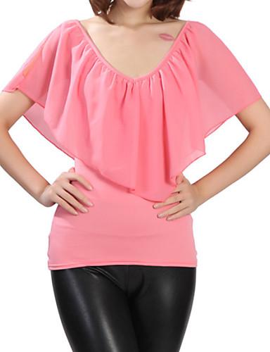Casual/hétköznapi Egyszerű V-alakú-Női Póló,Egyszínű Nyár Rövid ujjú Poliészter Közepes vastagságú