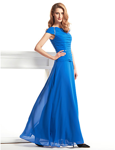 Sheath / Column Scoop Neck Floor Length Chiffon Mother of the Bride Dress with Ruching by LAN TING BRIDE®