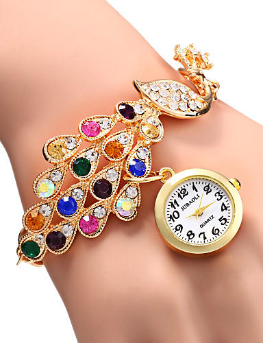 Women's Elegant Peacock Design Bracelet Quartz Wristwatch Cool Watches Unique Watches