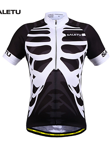 cheap Cycling Clothing-SALETU Men's Women's Short Sleeve Cycling Jersey - Black / White Bike Jersey Top Breathable Quick Dry Reflective Strips Sports 100% Polyester Clothing Apparel / Stretchy / Sweat-wicking