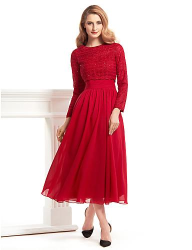 billige Kjoler til brudens mor-A-linje Besmykket Telang Chiffon / Blonder Kjole til brudens mor med Blonder av LAN TING BRIDE®