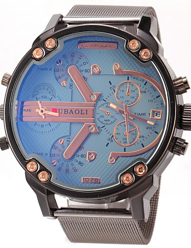 JUBAOLI Bărbați Quartz Ceas de Mână Ceas Militar  Ceas Casual Zone Duale de Timp  Oțel inoxidabil Bandă Charm Negru