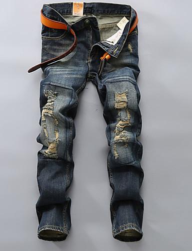 Masculino Casual Cintura Média Sem Elasticidade Jeans Calças,Sólido Algodão Poliéster Todas as Estações