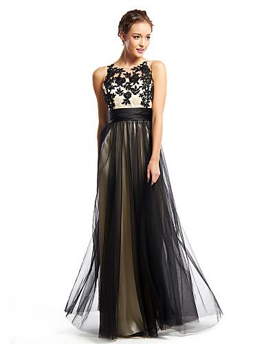 Krój A Wycięcie Sięgająca podłoża Tiul Studniówka Kolacja oficjalna Sukienka z Haft nakładany przez TS Couture®