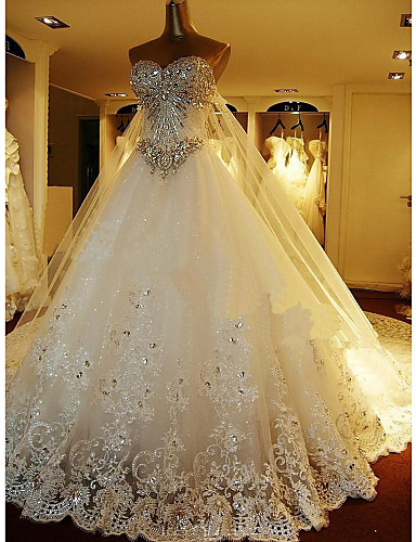 A line sweetheart cathedral train lace over tulle custom wedding a line sweetheart cathedral train lace over tulle custom wedding dresses with beading by lan junglespirit Choice Image