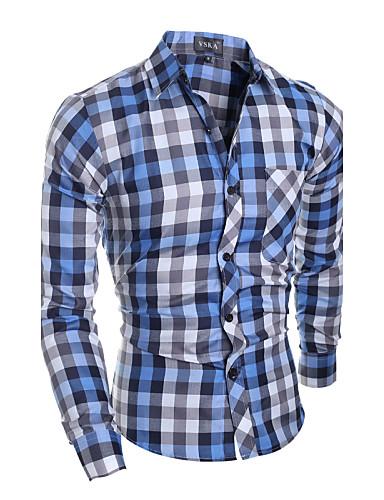 Bomull / Polyester Blå Medium Langermet,Skjortekrage Skjorte Fargeblokk Vår / Høst Enkel Fritid/hverdag Herre