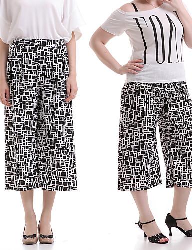 Mulheres Calças Casual Perna larga Poliéster Sem Elasticidade Mulheres