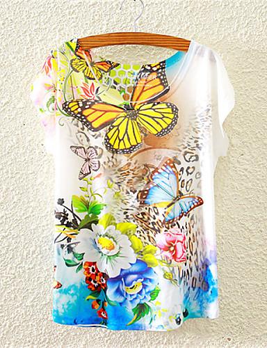 Mulheres Camiseta Fofo Flor, Floral Algodão