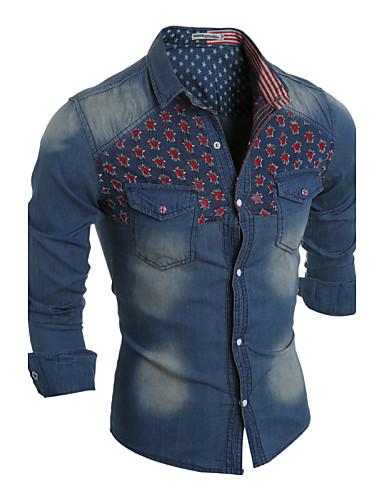 男性用 シャツ カジュアル レギュラーカラー パッチワーク