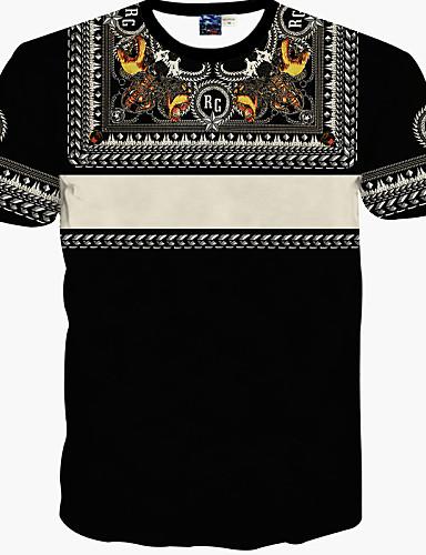남성 프린트 짧은 소매 티셔츠 캐쥬얼/데일리 면