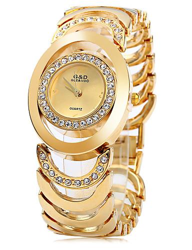 בגדי ריקוד נשים שעון צמיד שעוני אופנה קווארץ שעונים יום יומיים מתכת אל חלד להקה אלגנטי כסף זהב