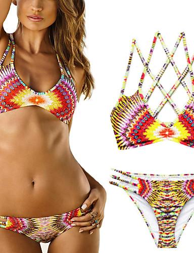 Kadın's Boho Bikiniler Geometrik