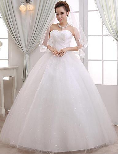 A-라인 웨딩 드레스 바닥 길이 스윗하트 레이스 / 새틴 와 비즈 / 레이스 / 허리끈 / 리본