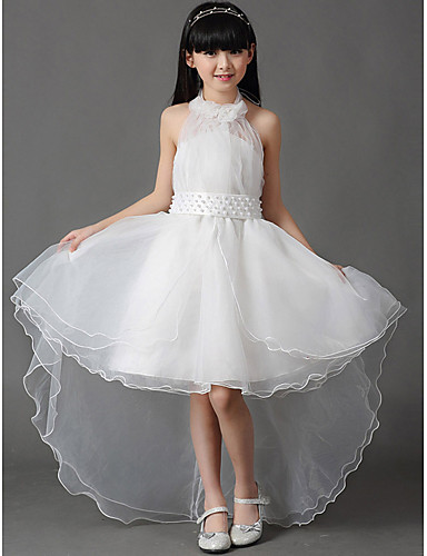 A-Şekilli Boyundan Bağlamalı Asimetrik Pamuklu Organze Fiyonk Pileler ile Çiçekçi Kız Elbisesi tarafından LAN TING BRIDE®