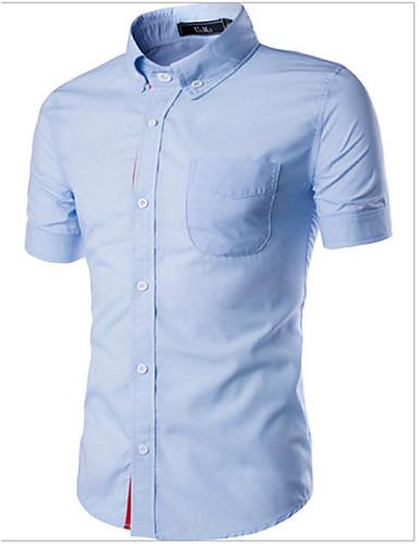 남성의 셔츠 프린트 짧은 소매 캐쥬얼 면 블랙 / 블루 / 레드 / 화이트