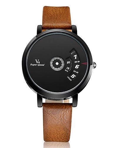 V6 Herre Quartz Unike kreative Watch Armbåndsur Hverdagsklokke Lær Band Sjarm Sølv